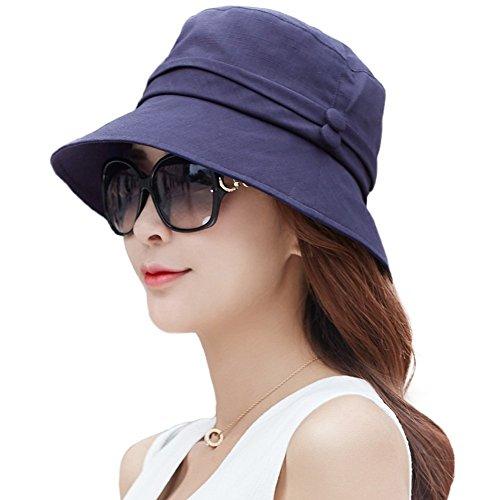 9bd958ec497 Siggi Ladies SPF50+ UV Protection Sun Bucket Hats Summer Beach Caps for  Womens Packable  w Chin Strap Navy Blue