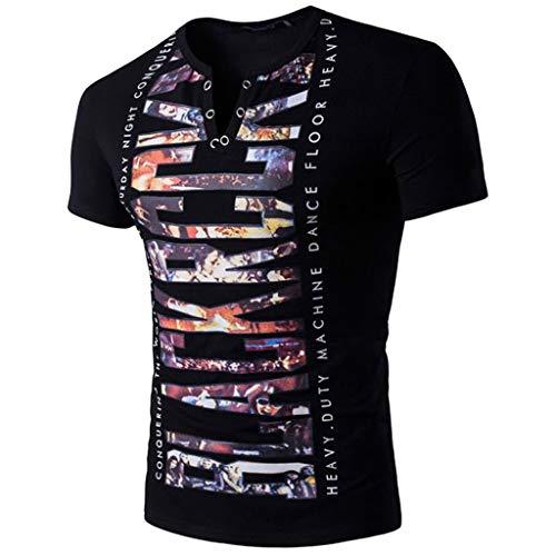Tyoby Herren T-Shirt Drucken Mode Kurzärmliges Oberteil Knopf V-Ausschnitt Sommer Freizeit Slim Fit T-Shirts(Schwarz,L)