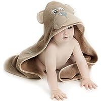 Little Tinkers World Ours Serviette de bébé à capuche, coton naturel, Large 75x75cm