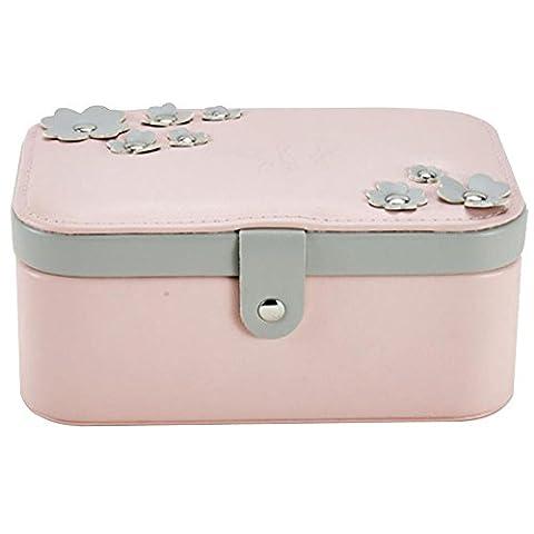 Belons Fashion Pink PU Leather Womens Jewelery Box Jewelery case 2 Layers Jewelry Storage Organizer Makeup Case Travel Case