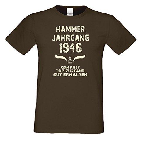 Geschenkidee zum 71. Geburtstag :-: Geschenk Herren kurzarm Geburtstags-Sprüche-T-Shirt mit Jahreszahl :-: Hammer Jahrgang 1946 :-: Geburtstagsgeschenk Männer :-: Farbe: braun Braun