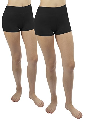 2x short damen yoga Sport shorty Schwarz Sport Hosen strecken laufen Shorts,S (Damen-yoga-hosen 2x)