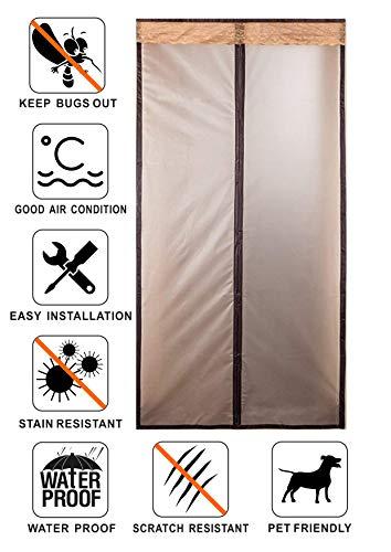 Liveinu isolamento termico tenda magnetica per porte zanzariera magnetica con thermo per camera climatizzata impermeabile rete anti zanzare 100x210cm marrone