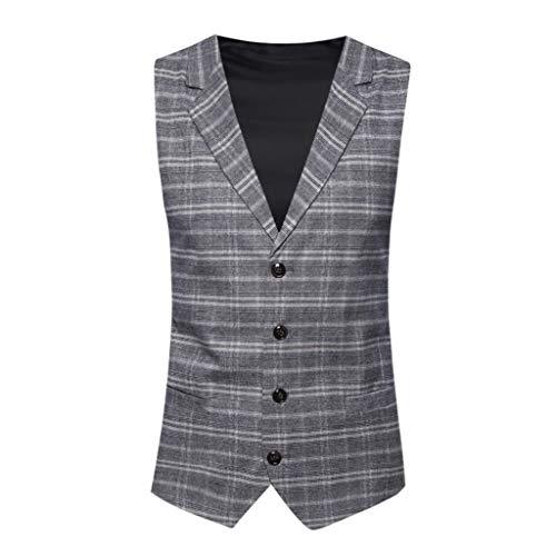 best cheap d1654 52e62 Vovotrade Panciotto Gilet Uomo Slim Fit Tweed Smanicato Matrimonio Corpetto  Smoking Waistcoat Casual retrò(Niente Camicia)