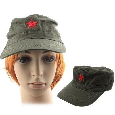 Basecap Fasching Karneval Cap Camouflage edel bestickt Feldmütze Jagd- Mütze Army CHINA RED STAR Roter Stern Kappe Schirmmütze (Band Cap Army)