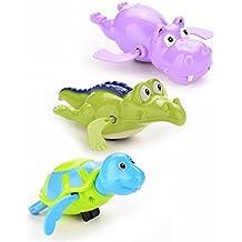 37YIMU - 3 Piezas un Juego Viento + Baño Juguetes Natación Wind-up Bañera/Piscina Juguetes set para Niños, Colores Aleatorios