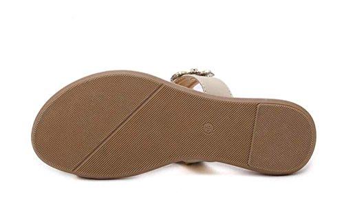 Onfly Da donna Il giro Peep Clip Toe Fiore Strass Boemia Sandali Infradito Tanga Ballerine Scarpe da spiaggia Grande formato 35-41 apricot