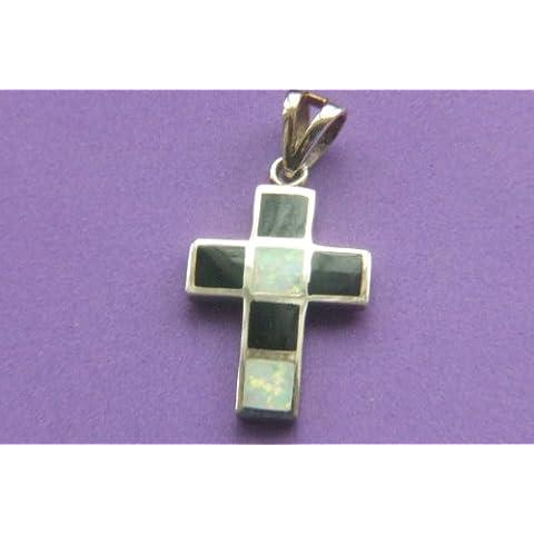 sterling silver cross con onyx y piedra lunar embutido,