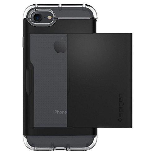 iPhone 8 / 7 Hülle, Spigen® [Crystal Wallet] iPhone 8 Hülle, Kartenfach [Schwarz] Doppelte Schutzschicht mit Luftpolster-Kantenschutz - Card Holder Handycase Schutzhülle für Apple iPhone 7 Hülle / iPhone 8 Case Cover - Black (042CS20981) - 3