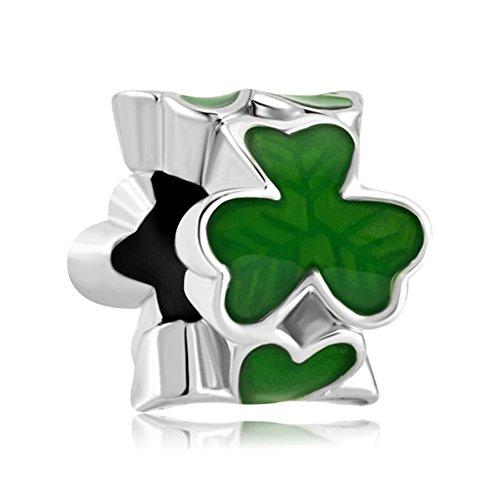 Sug Jasmin-verde trébol de tres hojas Trébol abalorios para pulsera Europea