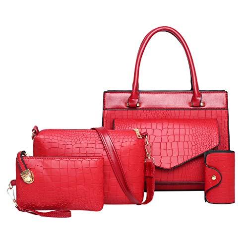 FOANA Damen Handtaschen Schultertasche Geldbörse Kartenhalter Tasche Set 4pc (rot)