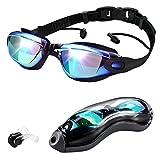 CestMall Occhiali da Nuoto a Specchio Protezione UV Occhiali da Nuoto Morbido Silicone Oculare Naso a Ponte Giunto a Scatto Impermeabile Senza perdite Lenti Anti-Nebbia con Tappi per Le Orecchie