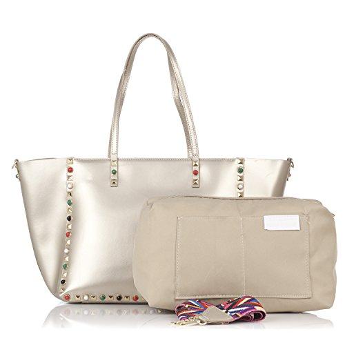 Laura Moretti - Borsa in pelle con borchie e borsa interna smontabile Oro
