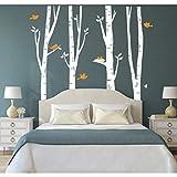 Kuke Wandtattoo Wald mit Hirsch Abnehmbare DIY Wand-Aufkleber Wandsticker für Wohnzimmer Sofa Hintergrund Schlafzimmer (L,Weiß)