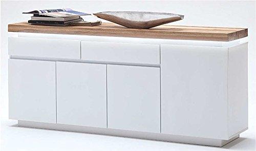 Sideboard in matt weiß, Deckplatte aus Asteiche massiv, 2 Schubkästen, 4 Türen und 3 Einlegeböden, inkl. LED-Beleuchtung, Maße: B/H/T ca. 175/81/40 cm