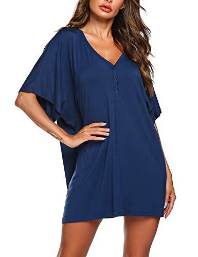 Nachthemd Nachthkleid Schwangere Sommer Schlafanzugoberteil Damen Pyjamas Kurze Ärmel Negligee Casual Kleid Blau T-Shirt