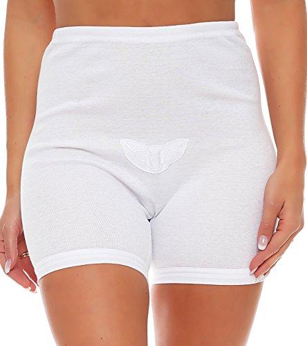 3er Pack Damen Slip mit Bein oder ohne Bein, weiß oder mit Blumen Muster (Schlüpfer, Unterhose) 438-444 440