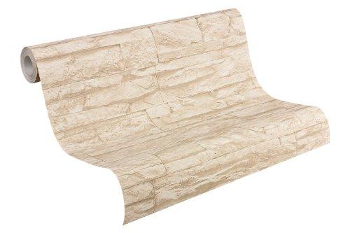 A.S Creation 707130 Tapete Wood`n Stone, Mustertapete in Bruchsteinoptik, beige, naturfarben