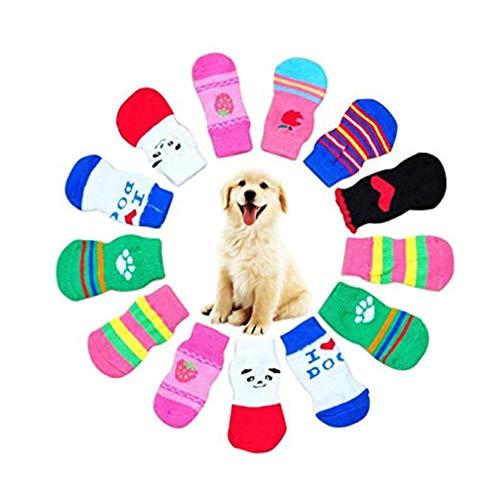 Fatchot 4 x süße Hundestrümpfe für Hunde und Welpen, Anti-Rutsch-Socken für den Innenbereich, Pfotenschutz