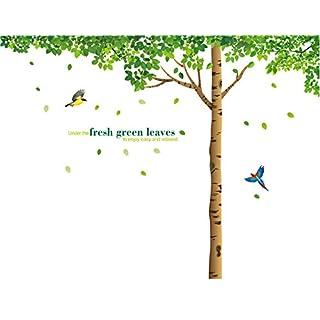 Aardvark Art Romantisch Riesige Sakura Blume Cherry Blossom Kirschblüte Baum/Grün Baum Wandtattoos Wandaufkleber Wandsticker Kinderzimmer Geschenke (Grün)