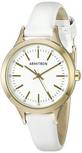 Armitron Women's 75/5372WTGPWT Swarovski Crystal Accented Gold-Tone and White Leather Strap Watch