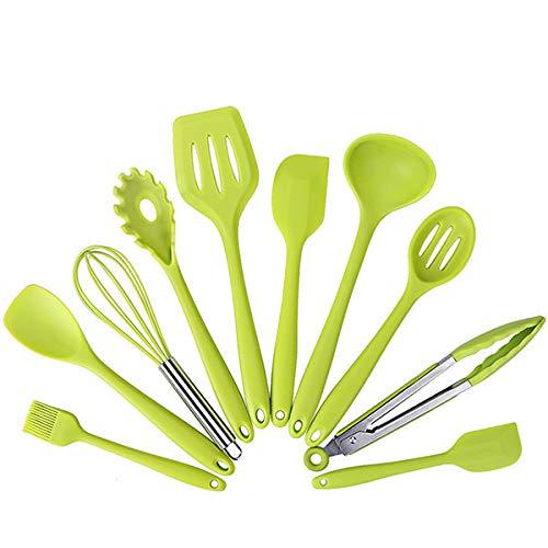 Schaber,10 Stück Von 5 Sets Silikon-Kochgeschirr-Set Hitzebeständige Küchenutensilien 10 Stück Grün (10 Stück Grün Kochgeschirr-set)