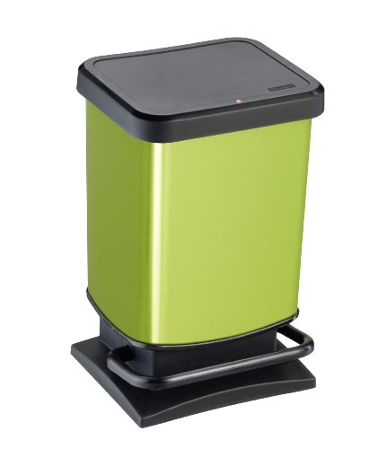 """Rotho Mülleimer """"Paso"""" 20 Liter│ geruchsdichter Abfalleimer - 29.3x26.6x45.7cm│ Papierkorb aus Kunststoff (PP) in Edelstahl-Optik │ Tretmechanismus zum Öffnen des Abfallbehälters"""