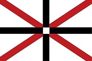 magFlags Flagge: Large Deutschen Reederei Leonhardt & Blumberg gegründet 1903 aus Hamburg ein rotes Andreaskreuz überlagert von einem schwarzem Kreuz auf weißen Grund | Que