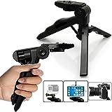 micros2u 4in 1leicht Mini Hand Held Stabilisator Pistolengriff Table Top Stand Stativ für iPhone, Handy, GoPro, DSLR, Camcorder, Video-Kamera und Digitalkameras