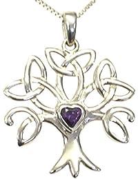 Sterlingsilber, keltischer Baum des Lebens, Geburtsstein-Halsketten-Set mit einem Amethyst und kubischem Zirkonoxid – Februar