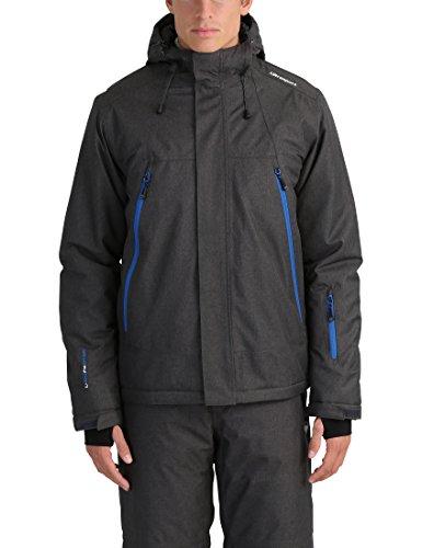 Ultrasport Mel - Giacca da sci o snowboard uomo con tecnologia Ultraflow 10.000 - Giubbotto termico per outdoor e sport invernali con cappuccio, grigio/blu, L