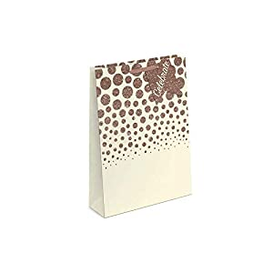 Just to Say 7751 - Bolsa de regalo con purpurina (tamaño mediano), diseño de lunares, color rosa y dorado