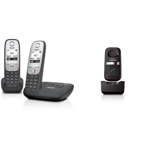 Gigaset A415 A Duo Dect-Schnurlostelefon mit Anrufbeantworter, incl. 1 zusätzlichem Mobilteil, schwarz, mit L410 Freisprech-Clip