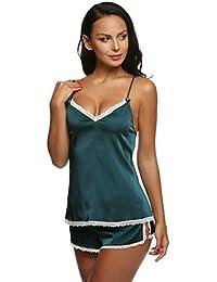 ZEARO Mode Sexy Set De Nuit Santin Nuisette Sleepwear Dentelle Pyjamas 2 Pièce Femme Camisole Bretelle Dentelle + Short