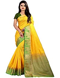 788181beb1 Women's designer lemon kajiwaram silk elephant pattern saree with blouse  piece