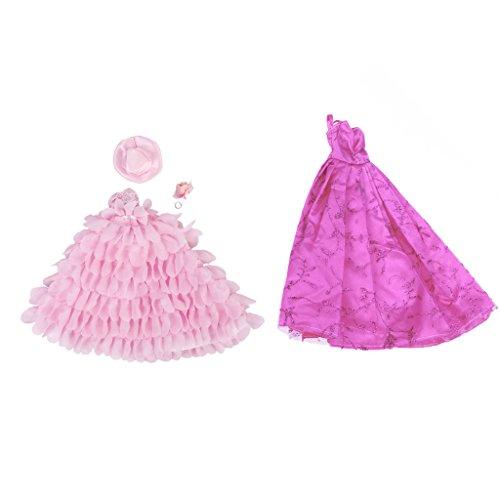 zessin Kleid Spitze Kleider mit Hut und Blume für Barbie Puppen Outfit (Princess Dress Up Kleidung)