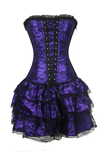 Burvogue, corsetto con gonna da donna in stile gotico steampunk purple xxx-large