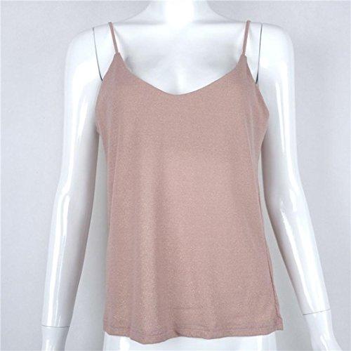 Bekleidung Longra Damen Sommer Tops Weste VNeckLady Camisole Gurt Kleidung  Tshirt Pink