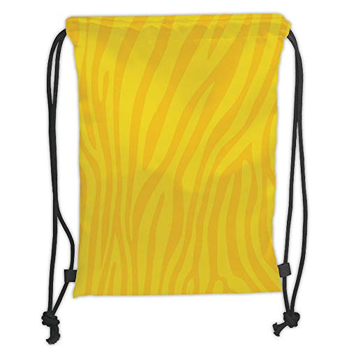 Drawstring Backpacks Bags,Zebra Print,Zebra Skin Wild Animal Print Pattern with Vivid Colors Artwork Print Decorative,Yellow and Mustard Soft Satin,5 Liter Capacity,Adjustable STRI -