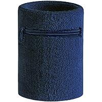 Hoter, polsiera sportiva colorata, spessa e resistente, dotata di tasca con zip, per utilizzarla come portafogli da polso, Navyblue