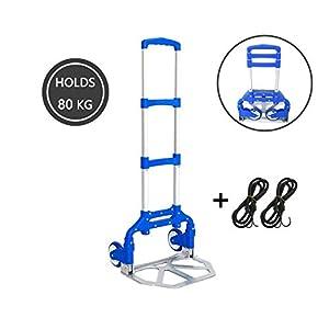 41I UHiHuhL. SS300  - Carretillas Plegables Aluminio 80 kg, 64 x 38 x 5 cm, Carretilla de Transporte Mudanza, Carretillas de Mano Carga Ligero y Robusto, Carretillas Plegables 2 Ruedas con 2 Cuerdas Elásticas, Azul