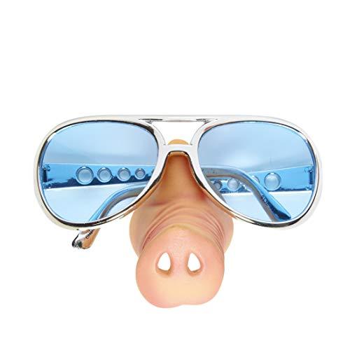 Amakando Schweinenase mit Brille / Hautfarben-Silber-Blau / Spaßbrille Polizist / Ideal zu Bad Taste Party & Fastnacht