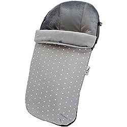 Saco Universal para carro o silla de paseo – Interior en pelo gris – Exterior en Tejido repelente al agua Corazones gris