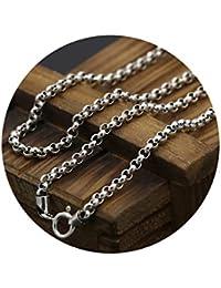 Beydodo Collar Plata de Ley 925 Collar Hombre y Mujer Collar Cadena Redonda Collar para Hombre y Mujer Collar Plata Collar
