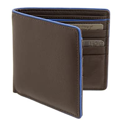 Men's Brown & Blue Two Fold Leather Wallet with Contrast Piping by 1642