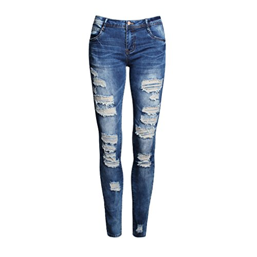 Jeans Zerrissen Damen Lang Low Waist Jeanshose Ankle Straight Boyfriend Stretch Skinny Hose Löcher
