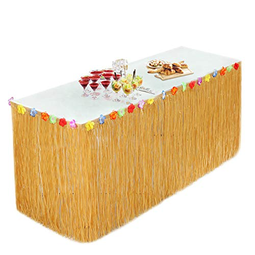 Hawaii Luau Tischröcke Party Deko (9.2X2.5ft), Tischdecke mit 30 Mehrfarbe Blumen für Sommer Garden Beach Tiki Party Dekoration (Gold) MEHRWEG