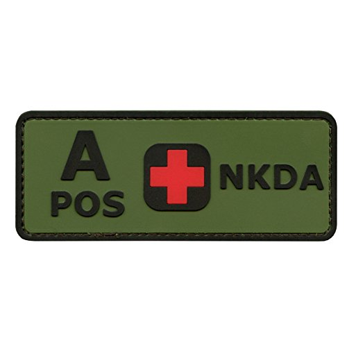 Olive Drab Green OD A POS Blutgruppen NKDA Combat Taktisch Tactical PVC Gummi 3D Touch Fastener Aufnäher Patch (Drab Od-olive)