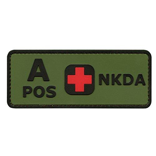Olive Drab Green OD A POS Blutgruppen NKDA Combat Taktisch Tactical PVC Gummi 3D Touch Fastener Aufnäher Patch Bdu Woodland Camo
