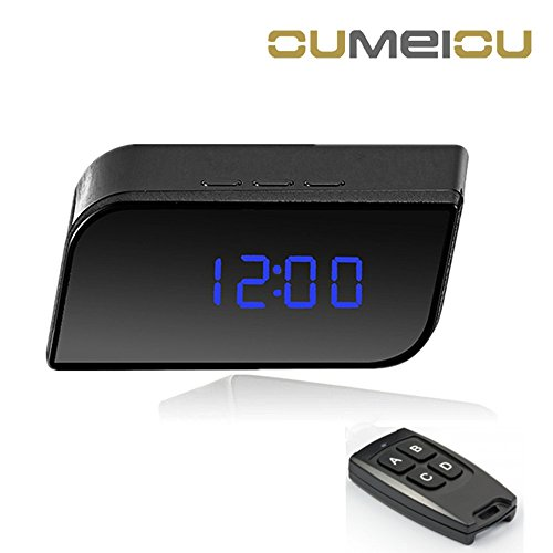 Oumeiou FullHD Radio Spy Camera Alarm Clock Hidden Camera Office Anti-theft Device Room Security with Remote Controller LCD Screen